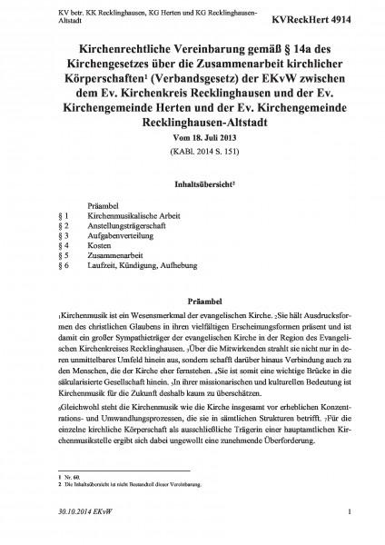 4914 KV betr. KK Recklinghausen, KG Herten und KG Recklinghausen-Altstadt
