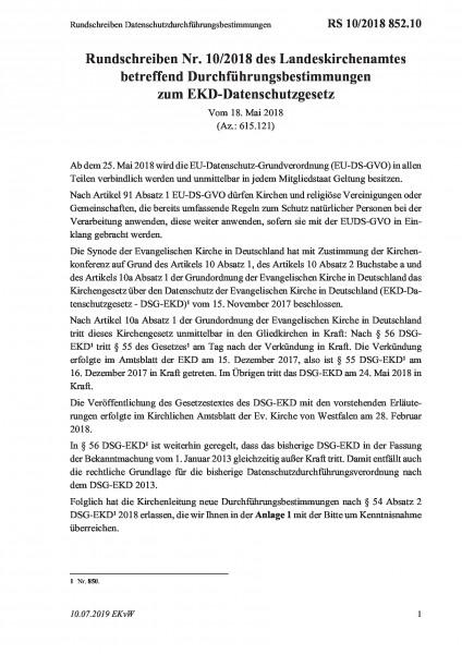 852.10 Rundschreiben Datenschutzdurchführungsbestimmungen