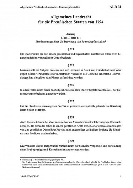 31 Allgemeines Preußisches Landrecht – Patronatspfarrstellen
