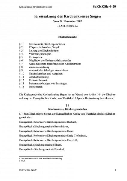 4420 Kreissatzung Kirchenkreis Siegen