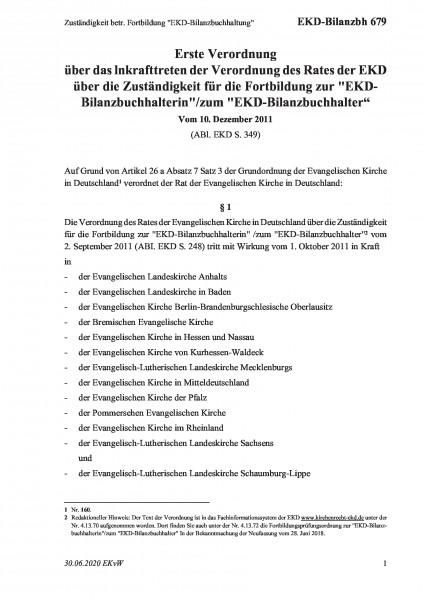 """679 Zuständigkeit betr. Fortbildung """"EKD-Bilanzbuchhaltung"""""""