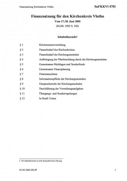 4701 Finanzsatzung Kirchenkreis Vlotho