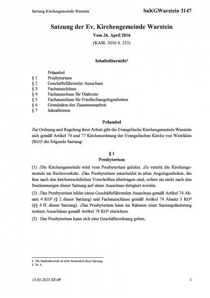 3147 Satzung Kirchengemeinde Warstein