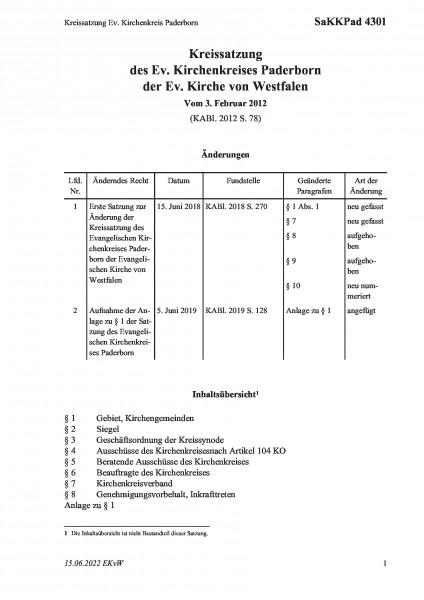 4301 Kreissatzung Ev. Kirchenkreis Paderborn
