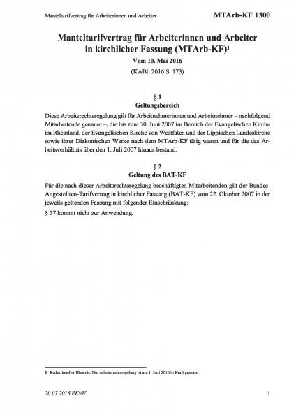 1300 Manteltarifvertrag für Arbeiterinnen und Arbeiter