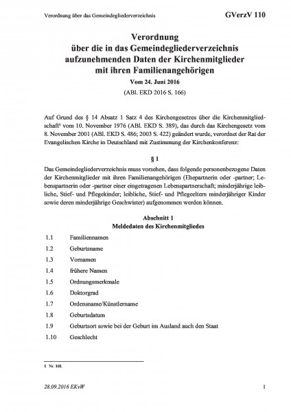110 Verordnung über das Gemeindegliederverzeichnis