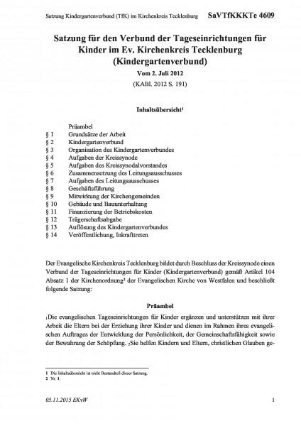 4609 Satzung Kindergartenverbund (TfK) im Kirchenkreis Tecklenburg