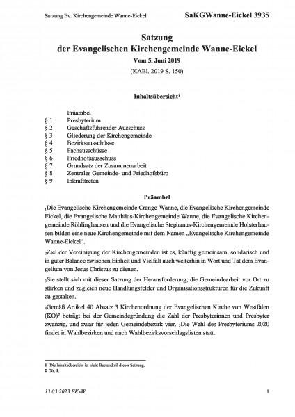 3935 Satzung Ev. Kirchengemeinde Wanne-Eickel