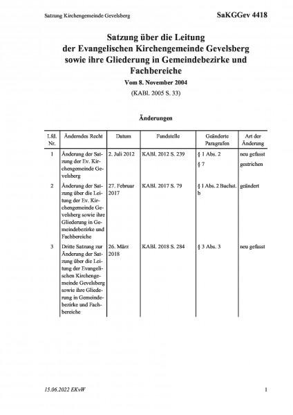 4418 Satzung Kirchengemeinde Gevelsberg