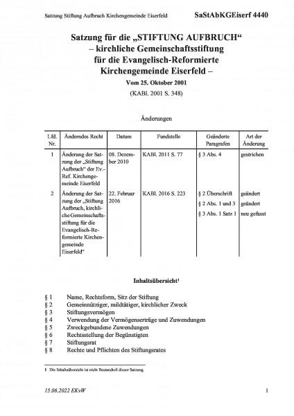 4440 Satzung Stiftung Aufbruch Kirchengemeinde Eiserfeld