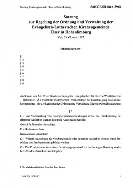 3964 Satzung Kirchengemeinde Elsey in Hohenlimburg