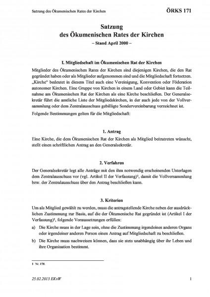 171 Satzung des Ökumenischen Rates der Kirchen