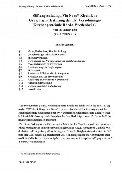 3577 Satzung Stiftung Via Nova Rheda-Wiedenbrück