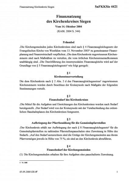 4421 Finanzsatzung Kirchenkreis Siegen