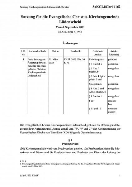 4162 Satzung Kirchengemeinde Lüdenscheid-Christus