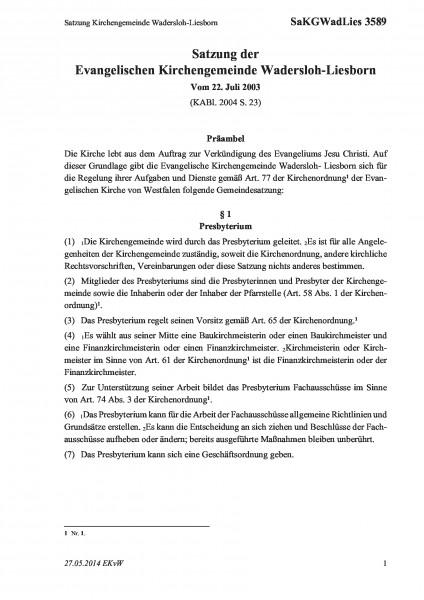 3589 Satzung Kirchengemeinde Wadersloh-Liesborn