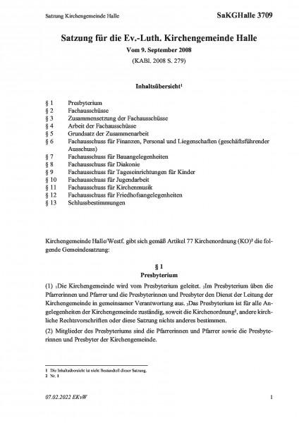 3709 Satzung Kirchengemeinde Halle