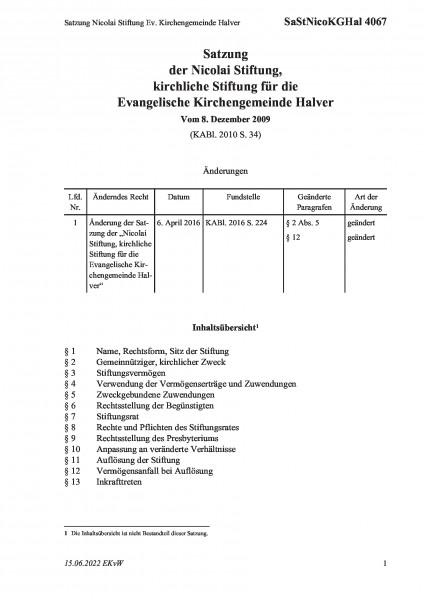 4067 Satzung Nicolai Stiftung Ev. Kirchengemeinde Halver