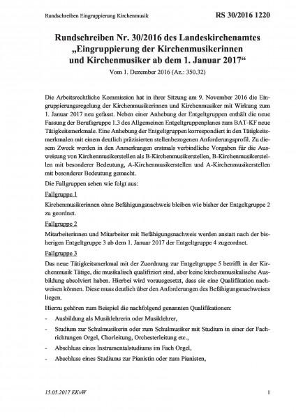 1220 Rundschreiben Eingruppierung Kirchenmusik