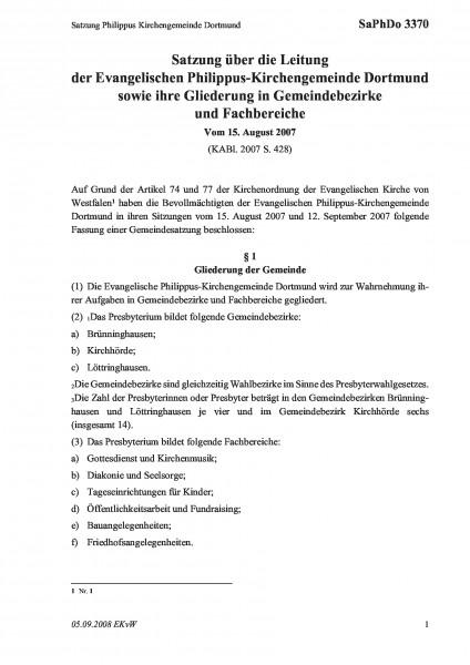 3370 Satzung Philippus Kirchengemeinde Dortmund