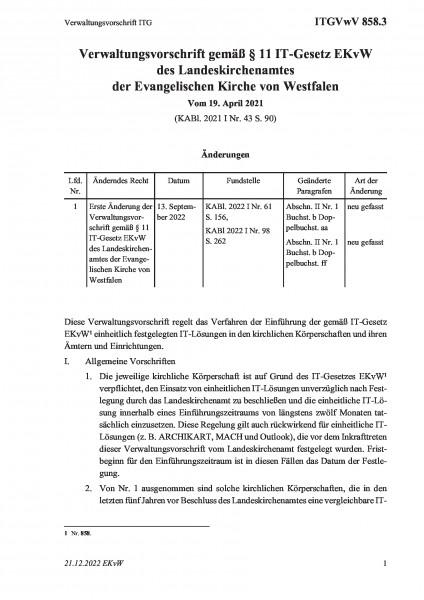 858.3 Verwaltungsvorschrift ITG