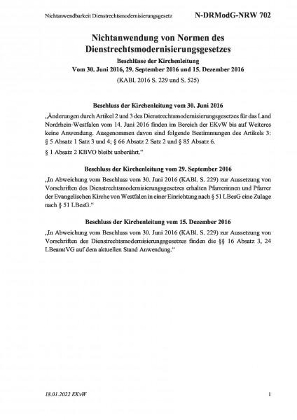 702 Nichtanwendbarkeit Dienstrechtsmodernisierungsgesetz
