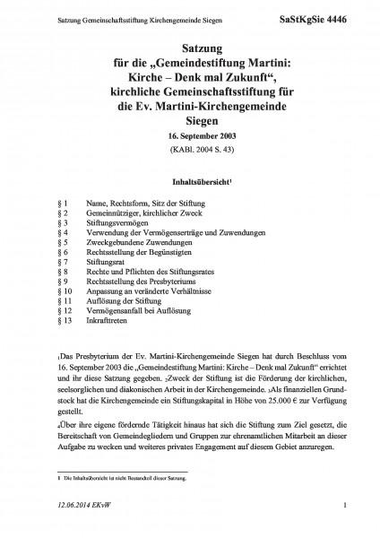 4446 Satzung Gemeinschaftsstiftung Kirchengemeinde Siegen