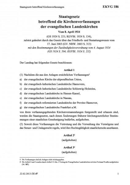 186 Staatsgesetz betreffend Kirchenverfassungen