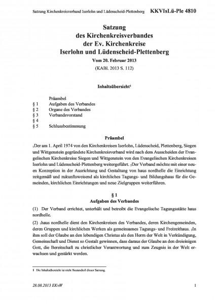 4810 Satzung Kirchenkreisverband Iserlohn und Lüdenscheid-Plettenberg