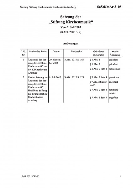 3105 Satzung Stiftung Kirchenmusik Kirchenkreis Arnsberg