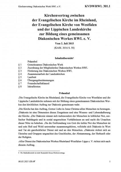 301.1 Kirchenvertrag Diakonisches Werk RWL e.V.