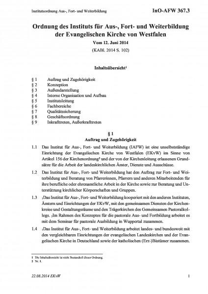 367.3 Institutsordnung Aus-, Fort- und Weiterbildung