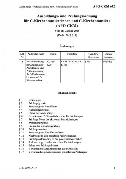 632 Ausbildungs-/Prüfungsordnung für C-Kirchenmusiker/-innen