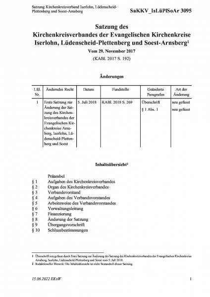 3095 Satzung Kirchenkreisverband Iserlohn, Lüdenscheid-Plettenberg und Soest-Arnsberg