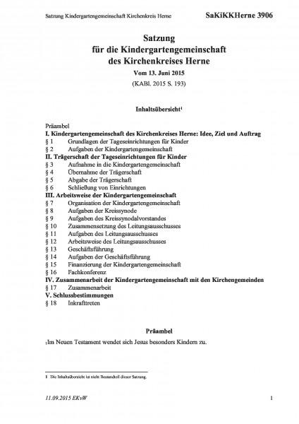 3906 Satzung Kindergartengemeinschaft Kirchenkreis Herne
