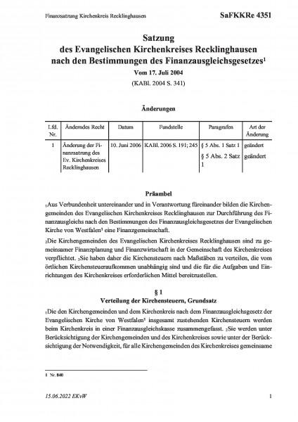 4351 Finanzsatzung Kirchenkreis Recklinghausen