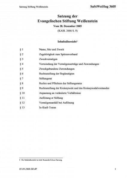 3605 Satzung Stiftung Weißenstein