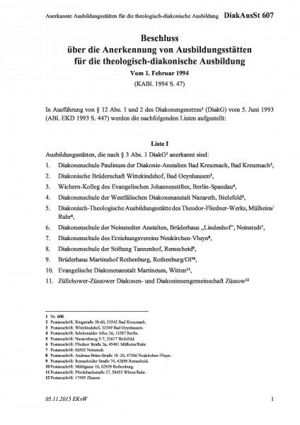 607 Anerkannte Ausbildungsstätten für die theologisch-diakonische Ausbildung
