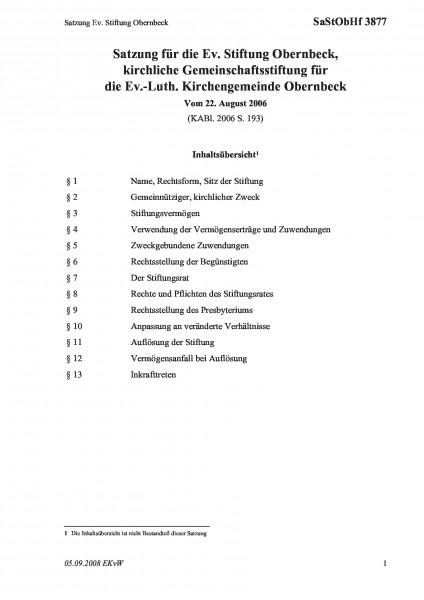 3877 Satzung Ev. Stiftung Obernbeck