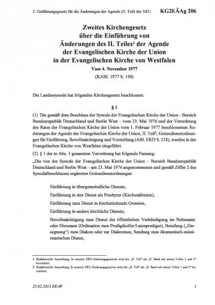 206 2. Einführungsgesetz für die Änderungen der Agende (II. Teil) der EKU