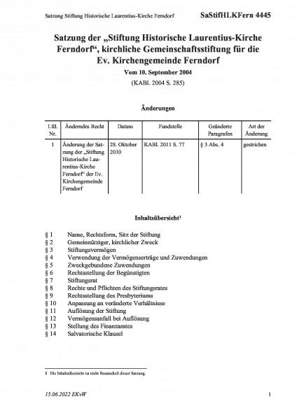 4445 Satzung Stiftung Historische Laurentius-Kirche Ferndorf