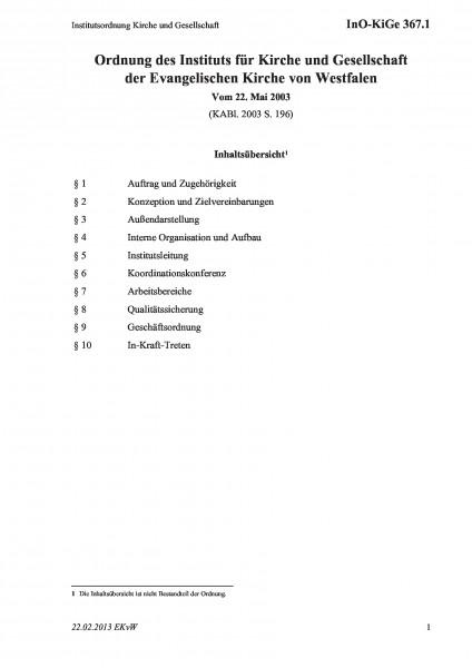 367.1 Institutsordnung Kirche und Gesellschaft