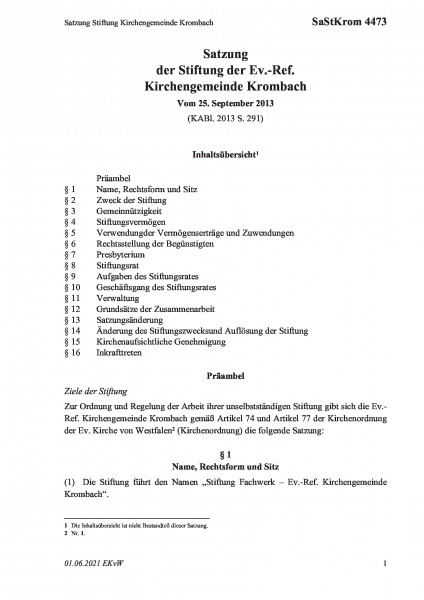 4473 Satzung Stiftung Kirchengemeinde Krombach