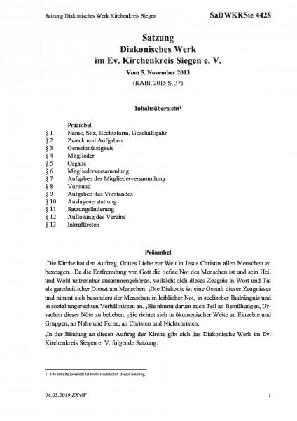 4428 Satzung Diakonisches Werk Kirchenkreis Siegen