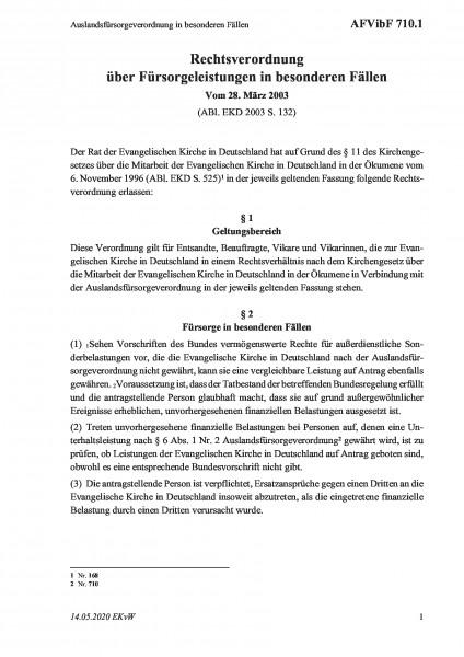 710.1 Auslandsfürsorgeverordnung in besonderen Fällen