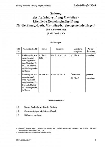 3640 Satzung Aufwind-Stiftung Hagen-Matthäus