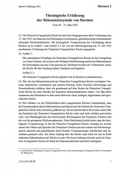 2 Barmer Erklärung 1934
