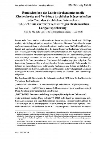 855.12 Datenschutz - BSI-Richtlinie Langzeitspeicherung