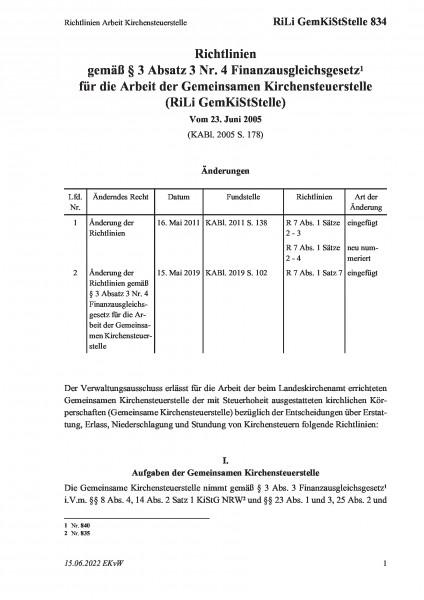 834 Richtlinien Arbeit Kirchensteuerstelle