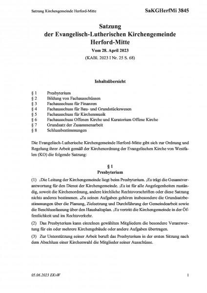 3845 Satzung Kirchengemeinde Herford-Mitte